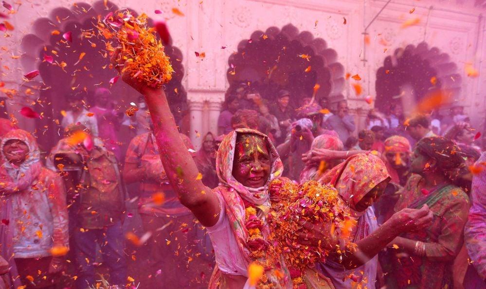 Rajasthan/India 03/21/2019 photo of Holi, the Hindu festival of colours