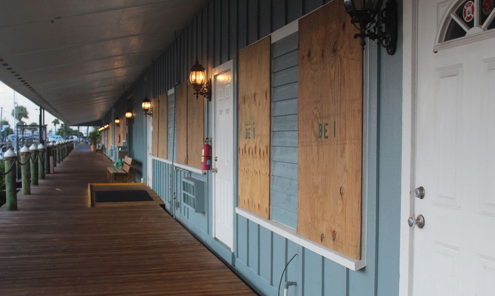 Harbortown Marina boarded up preparing for the impact of Hurricane Dorian