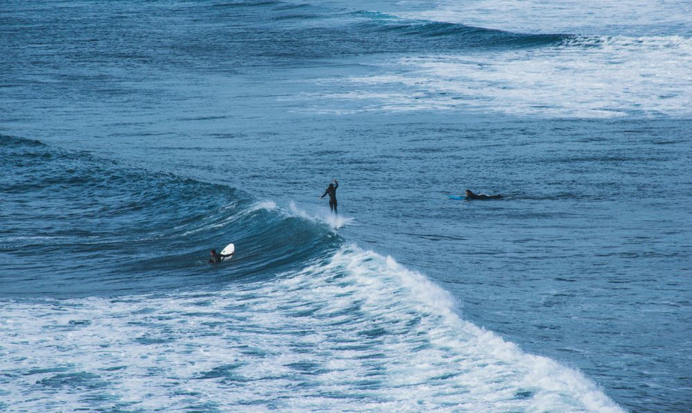 Surfing in the Punta de Lobos waves, Chile