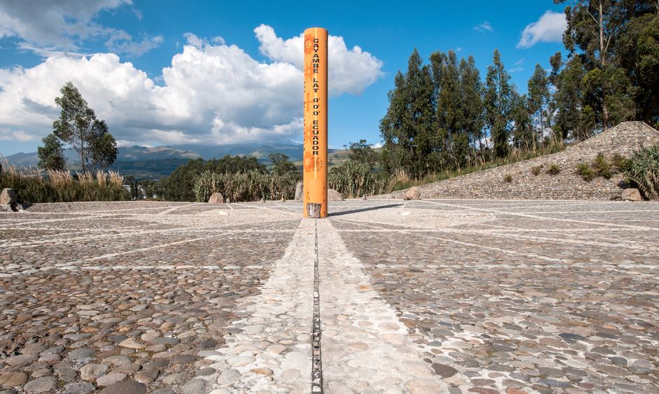 Equator Line Monument, marks the point through which the equator passes, Cayambe, Ecuador