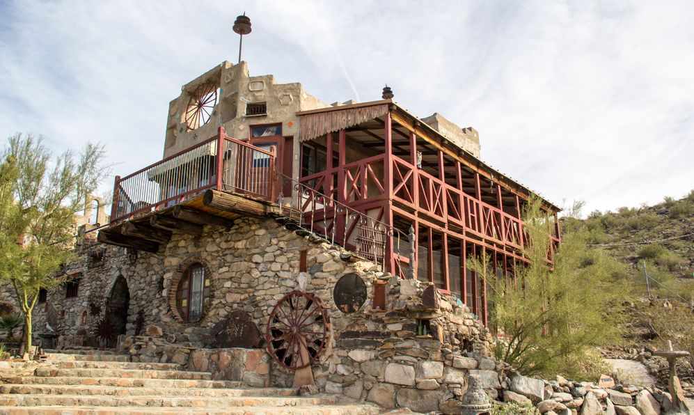 Tourists visit the Mystery Castle in Phoenix