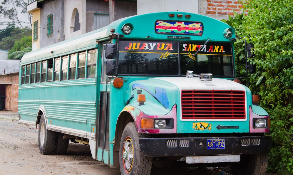 "A typical Central American transport ""Chicken Bus"" in Juayua, El Salvado"