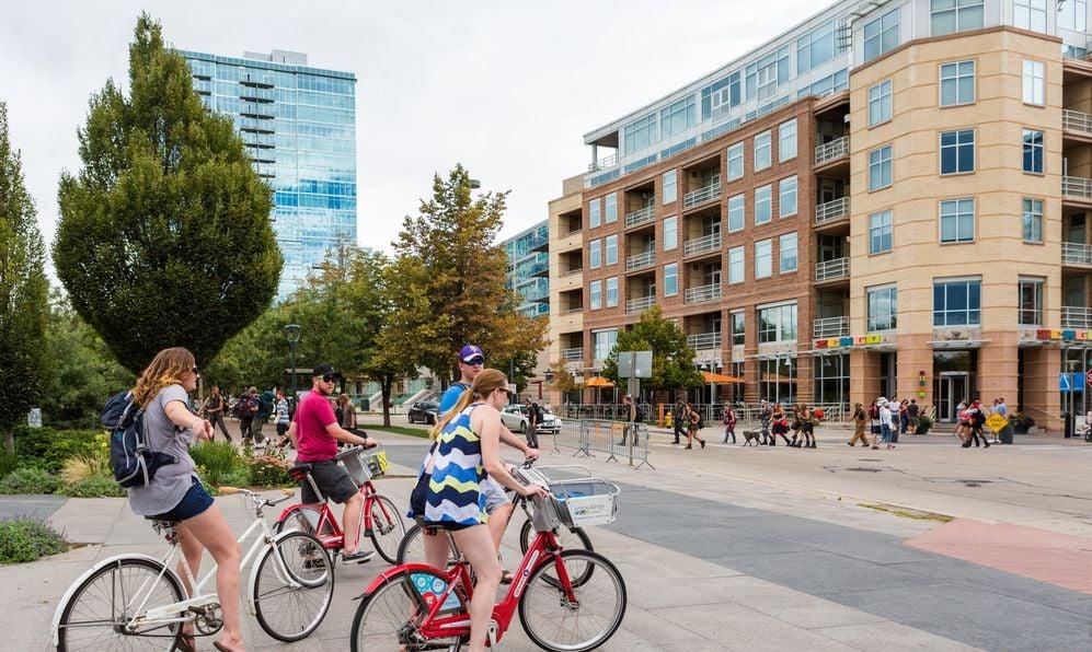 Biking on weekend in downtown Denver, Colroado