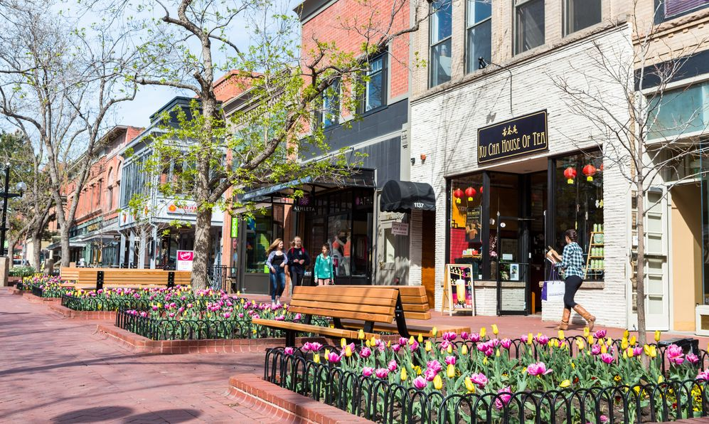 Pearl Street Mall during tulip bloom in early Spring