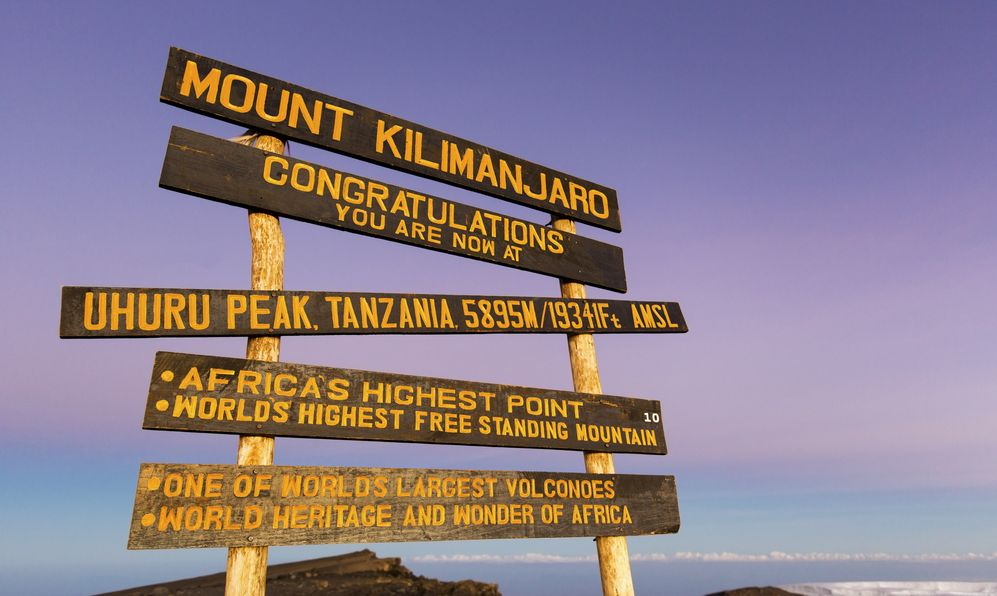 Uhuru Peak (highest summit) on Mount Kilimanjaro in Tanzania