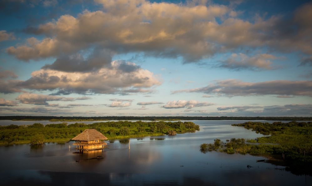 Panoramic view of the Amazon River at the afternoon. Iquitos, Peru