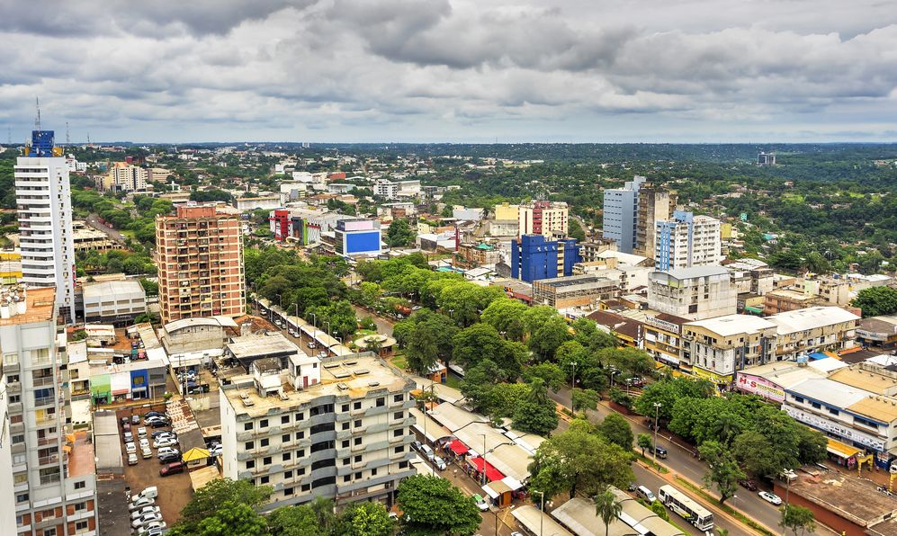 Aerial view of Ciudad del Este, the second largest city in Paraguay