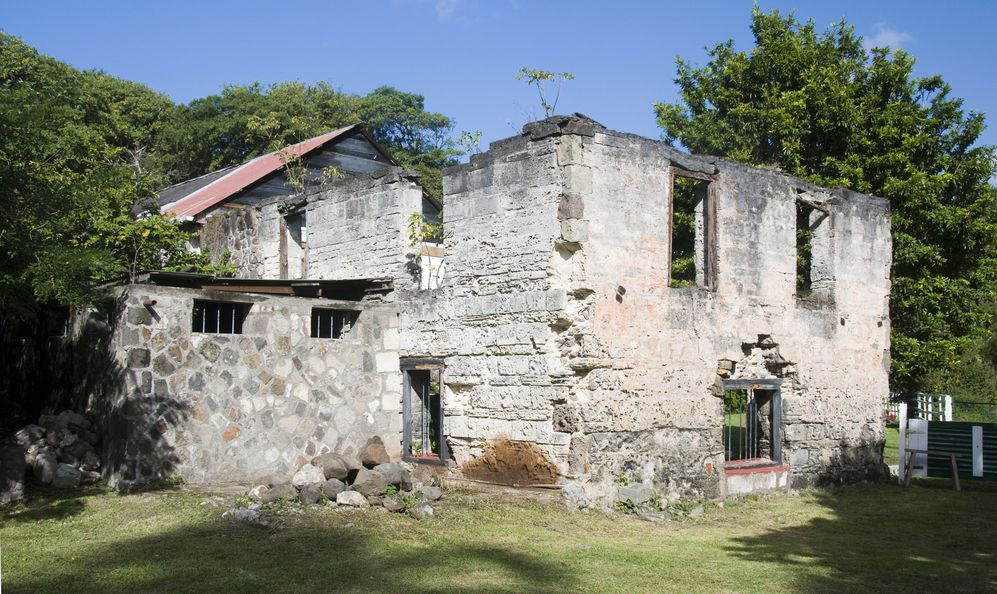 rebuilt old sugar mill from the 1700s in industry bay bequia st. vincent and the grenadines island nation in the caribbean