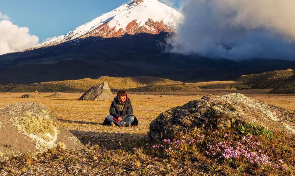 Young European Volcanologist At The Foot Of Cotopaxi Volcano, Ecuador