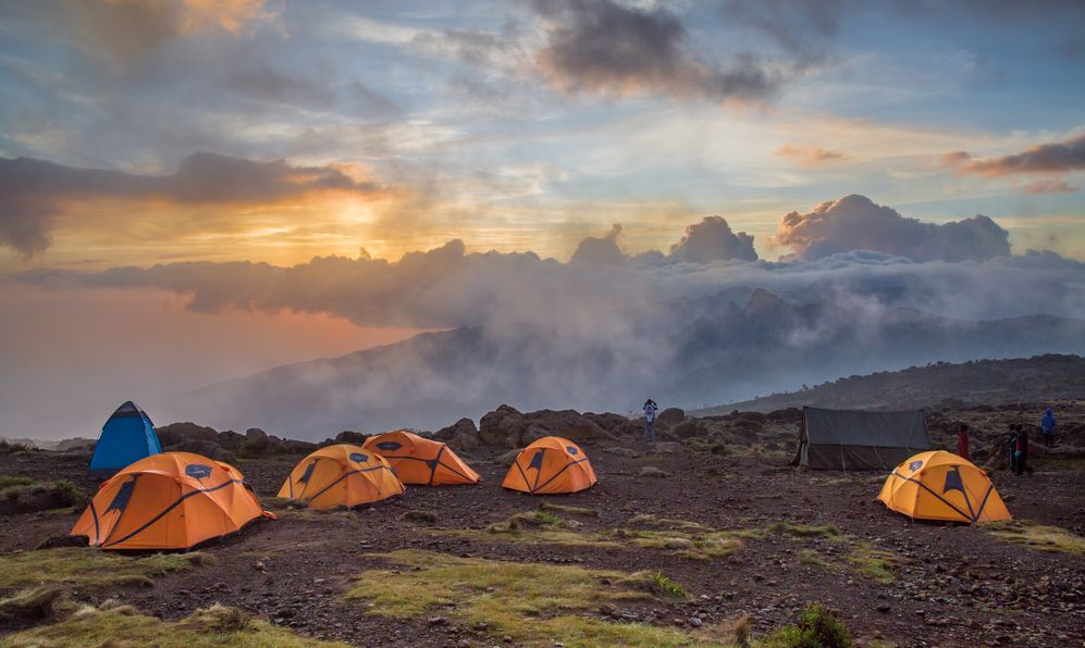 Orange tents on Kilimanjaro