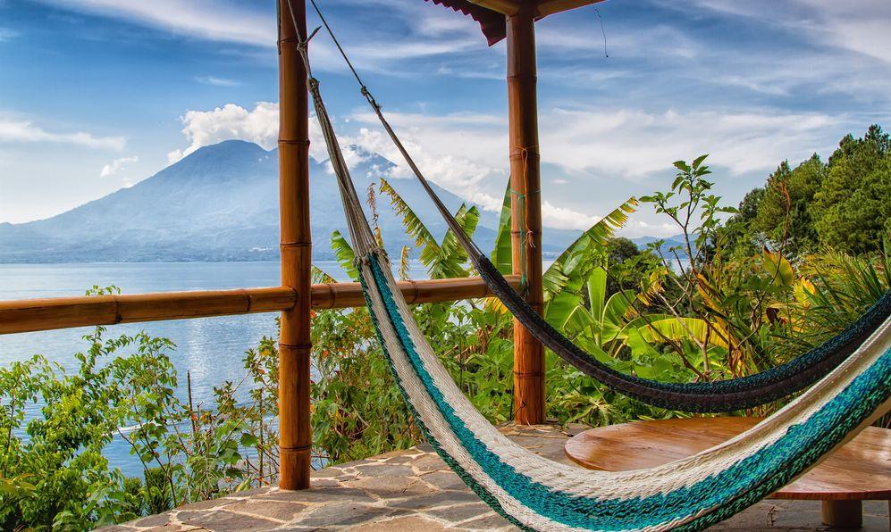 Lago de Atitlan with Volcan San Pedro, Guatemala