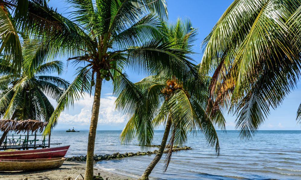 Boats on beach at Caribbean town of Livingston, Guatemala