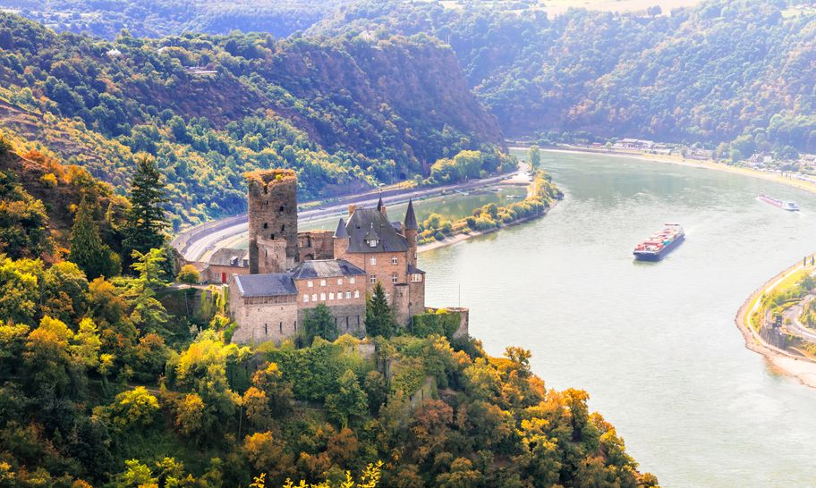 Magnificent Rhine valley with romantic medieval castles