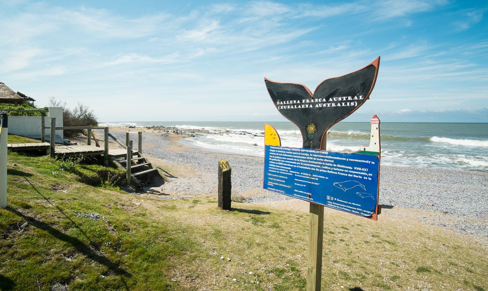 Signpost marking a whalewatching point in La Paloma, Uruguay