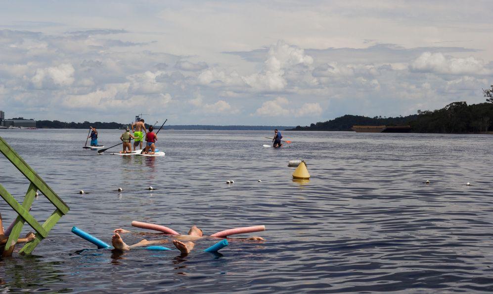 Peoples Having fun in Amazon river