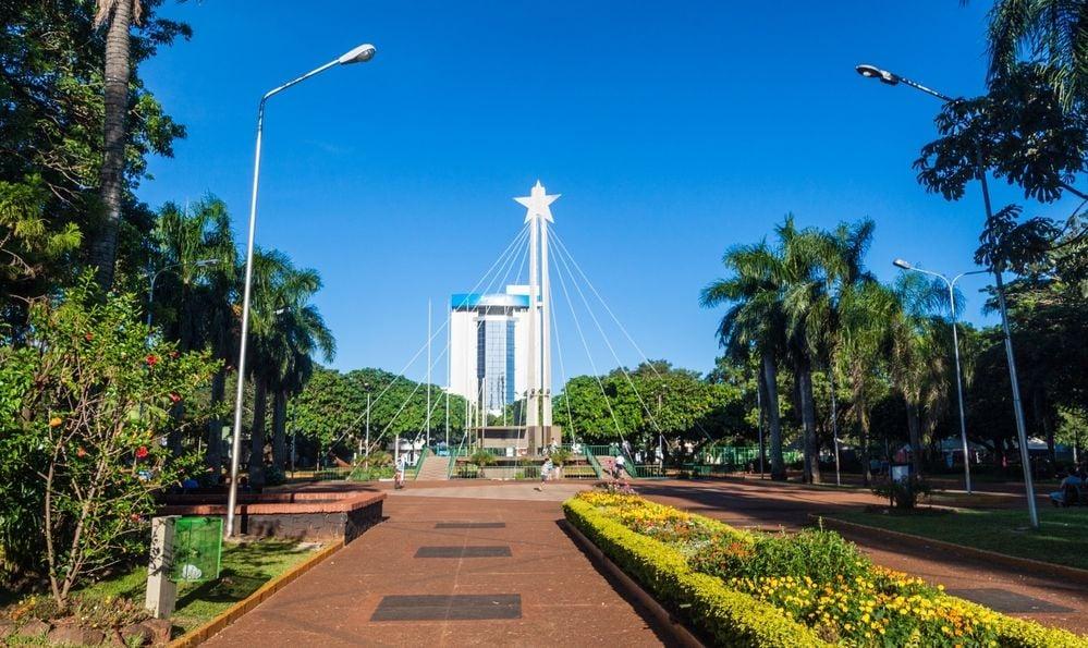 Plaza de Armas square in Encarnacion, Paraguay.