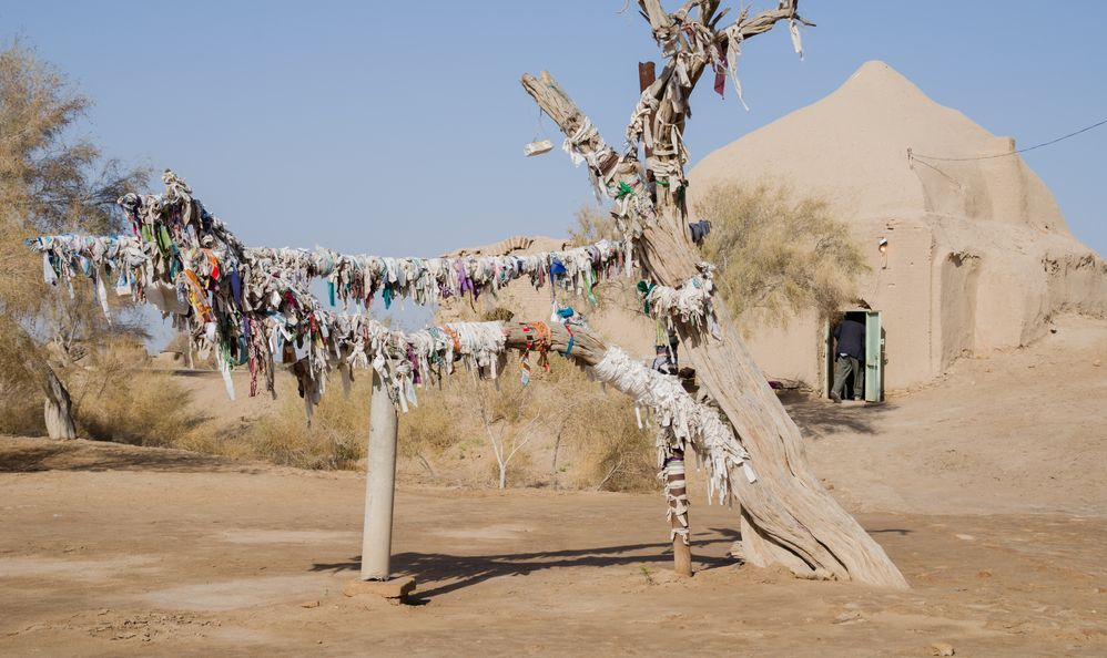 View of a wish tree with a man entering a building in the background. Many offerings can be seen tied to the tree. Picture taken near the Turkmen city of Merv.