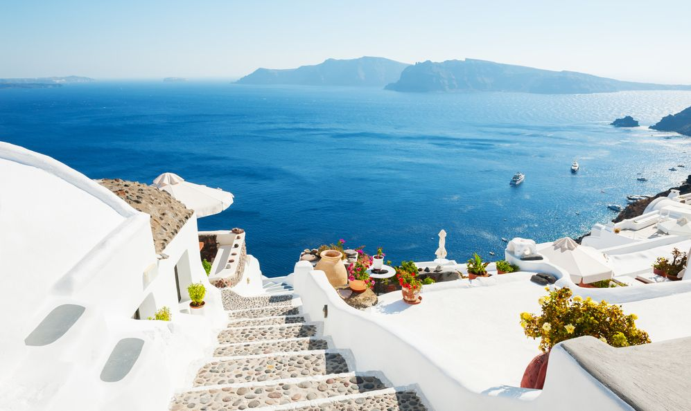 White architecture on Santorini island, Greece. Beautiful summer landscape, sea view