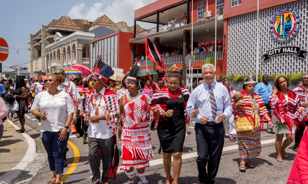 First peoples' ceremonial walk, October12, 2017 on the streets of Port of Spain, Trinidad.