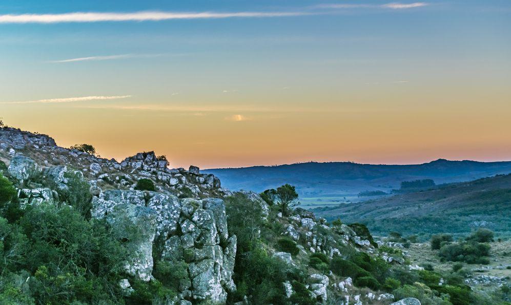 Countryside landscape scene at Salto del Penitente, a local toursitic location of Uruguay
