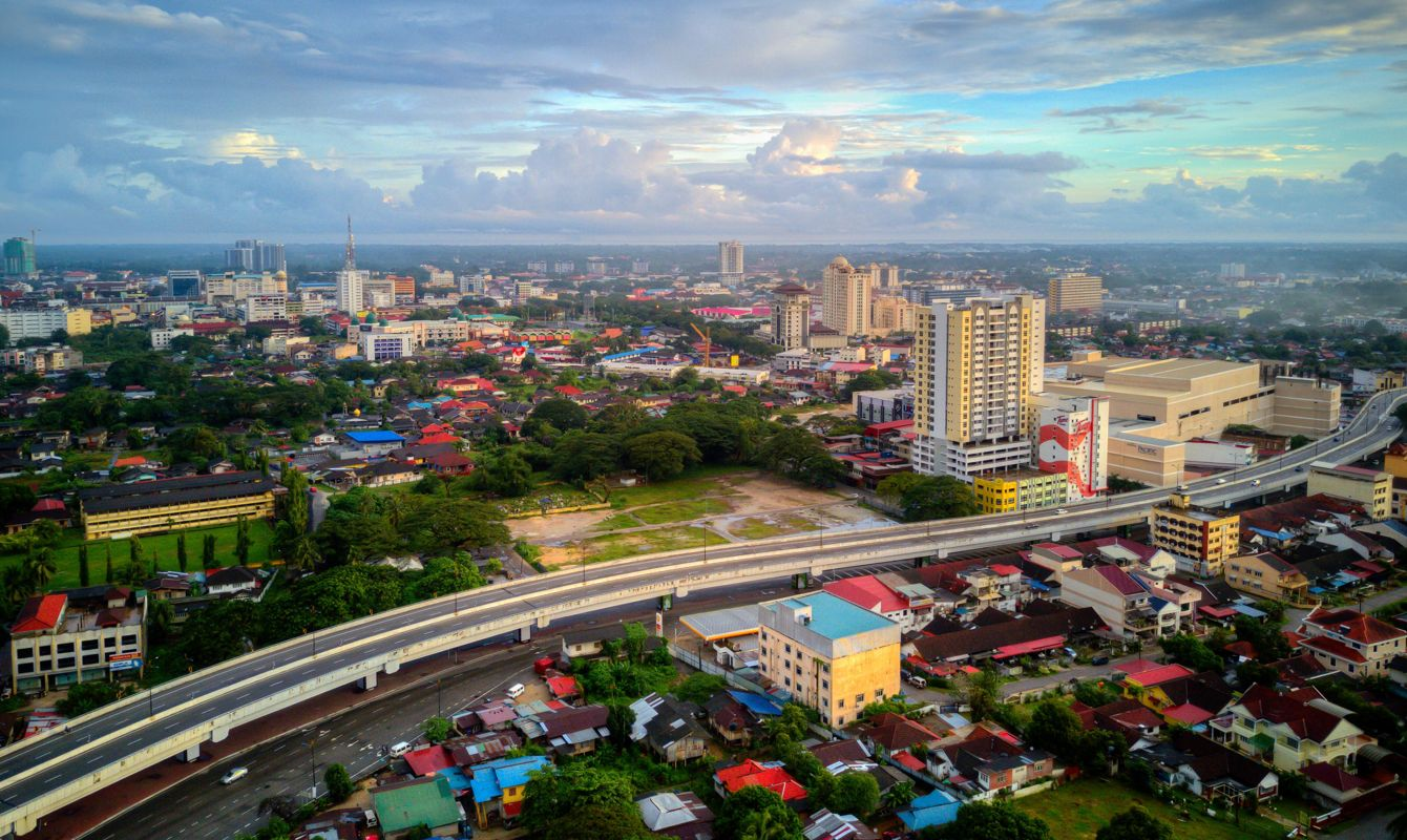 Aerial view of Kota Bharu city in the morning