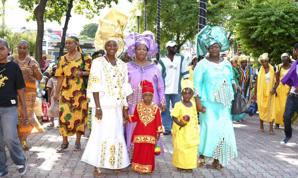 unidentified kids and family celebrating Emancipation Day which commemorates the abolition of Slavery