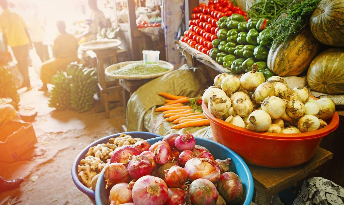 Market with various types of vegetable in Kigali
