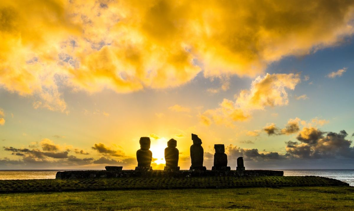 Ahu Vai Uri the most famous sunset at Easter Island.