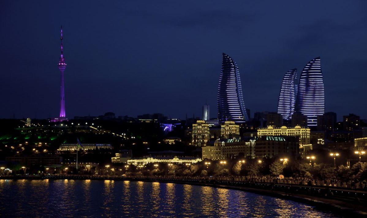 Night views of festive Baku.