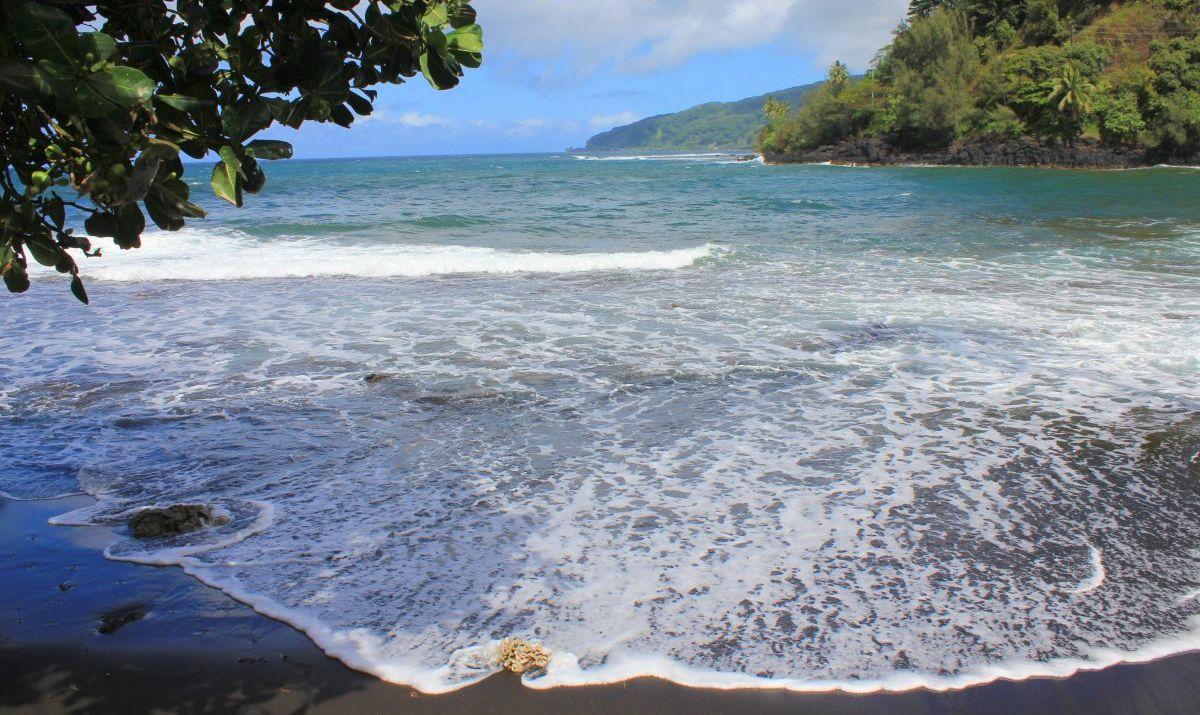 Black beach on Tahiti island