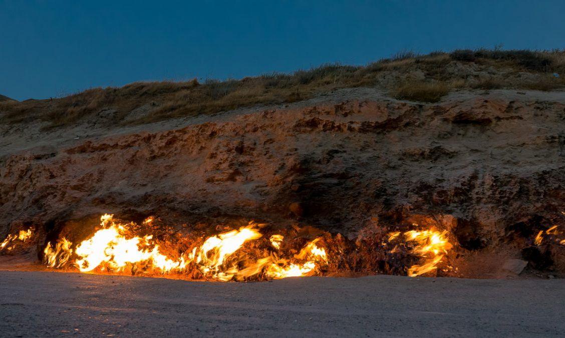 Powerful blaze of burning natural gas surface, Yanar Dag, Azarbaijan