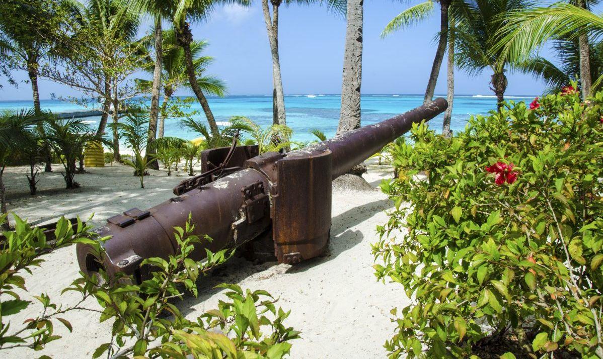 Japanese World War ll canyon on the Island of Managaha, Mariana Islands, Micronesia.