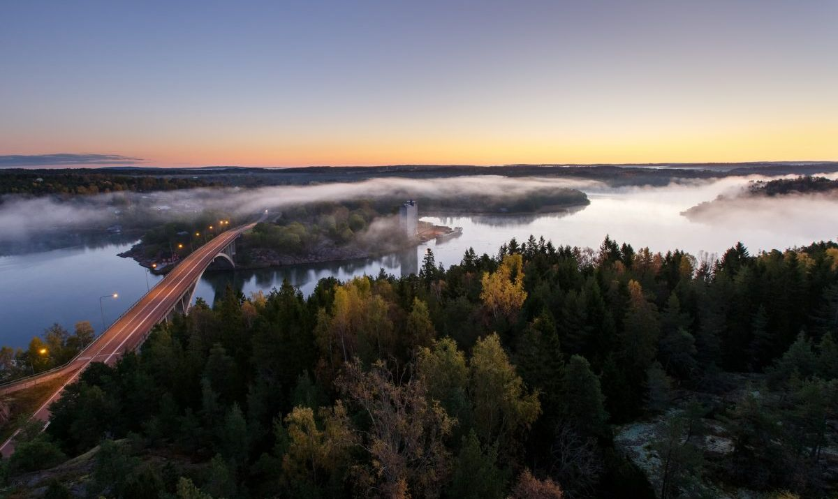 Autumn morning on the river, Aland Islands, Finland