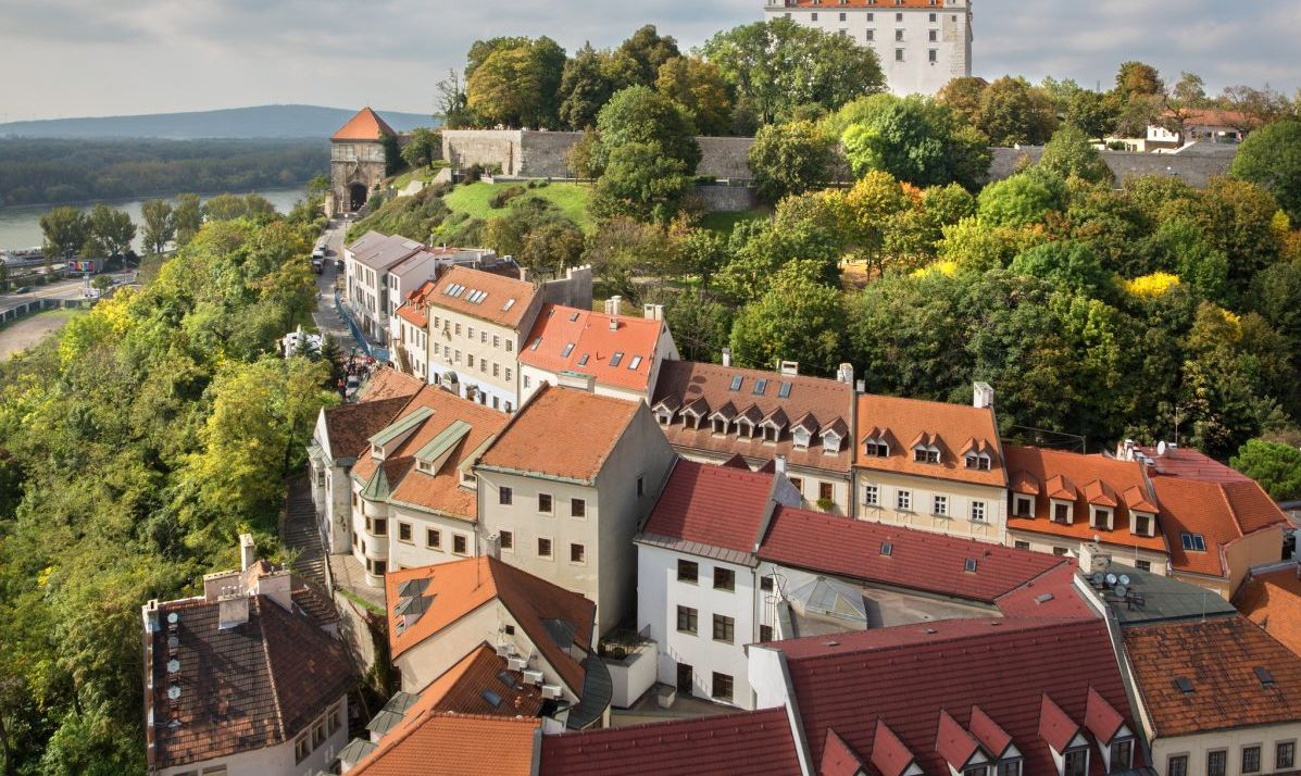 Bratislava - outlook form st. Martins cathedral to the castle