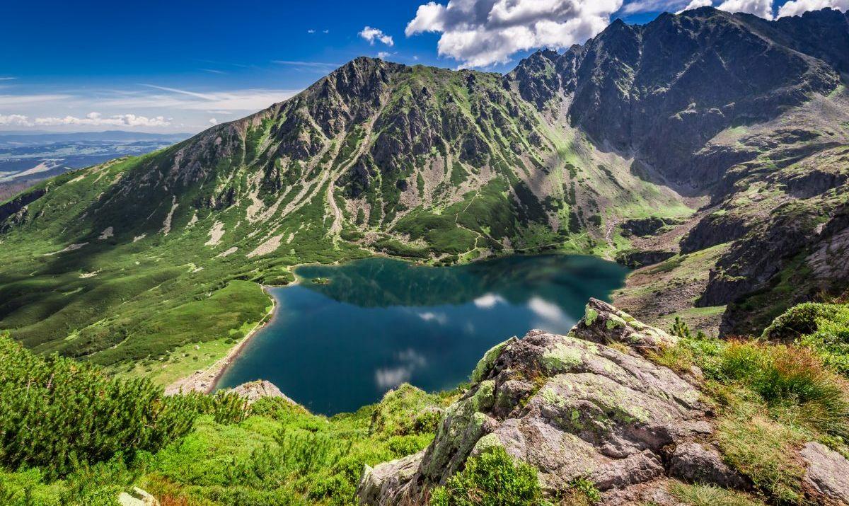 Wonderful sunrise at Czarny Staw Gasienicowy in summer, Tatras