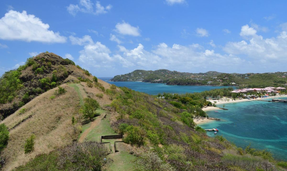 View of Rodney bay in Saint Lucia from Pigeon island