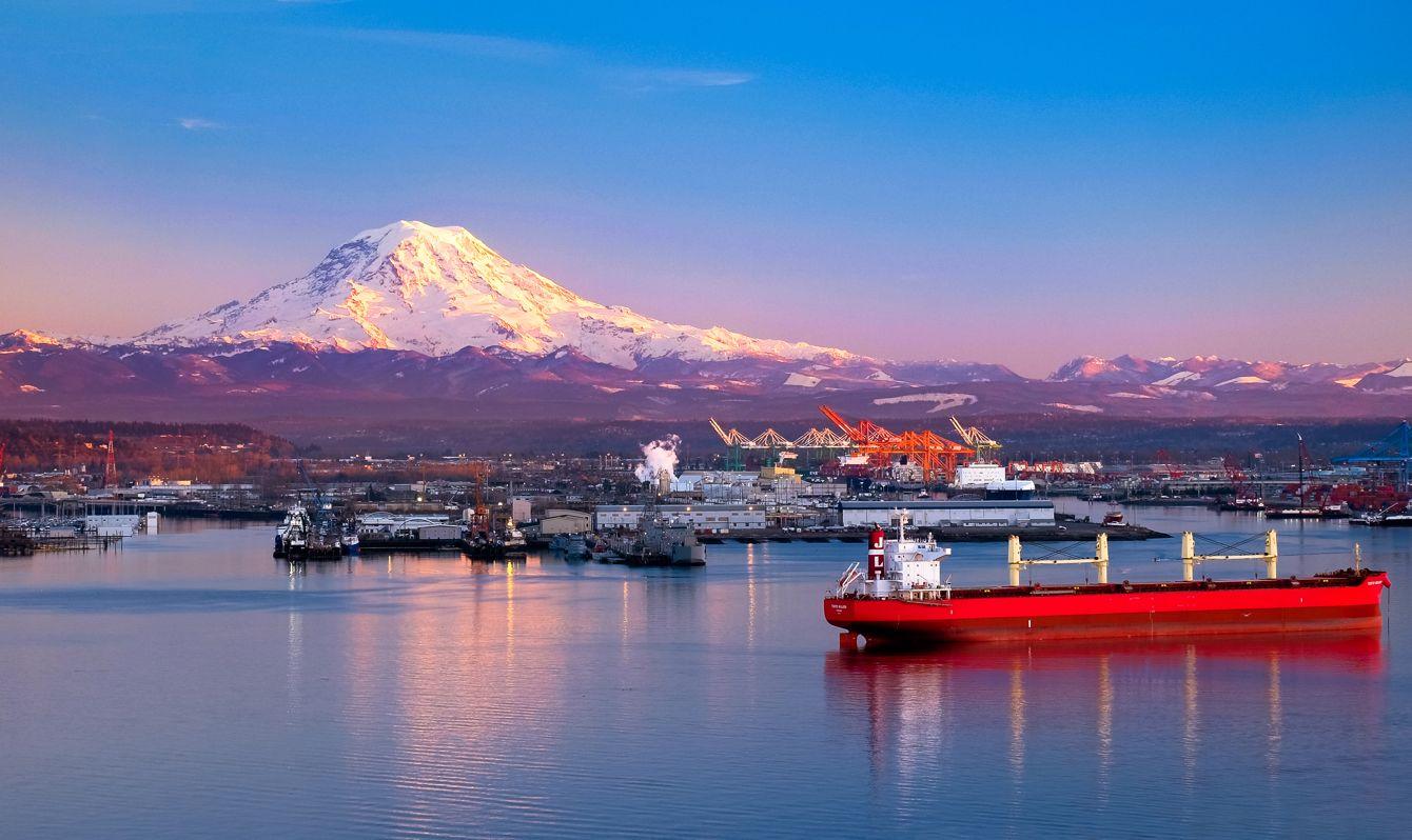 Sunset Illuminates Mt Rainier, Ships and The Port Of Tacoma.