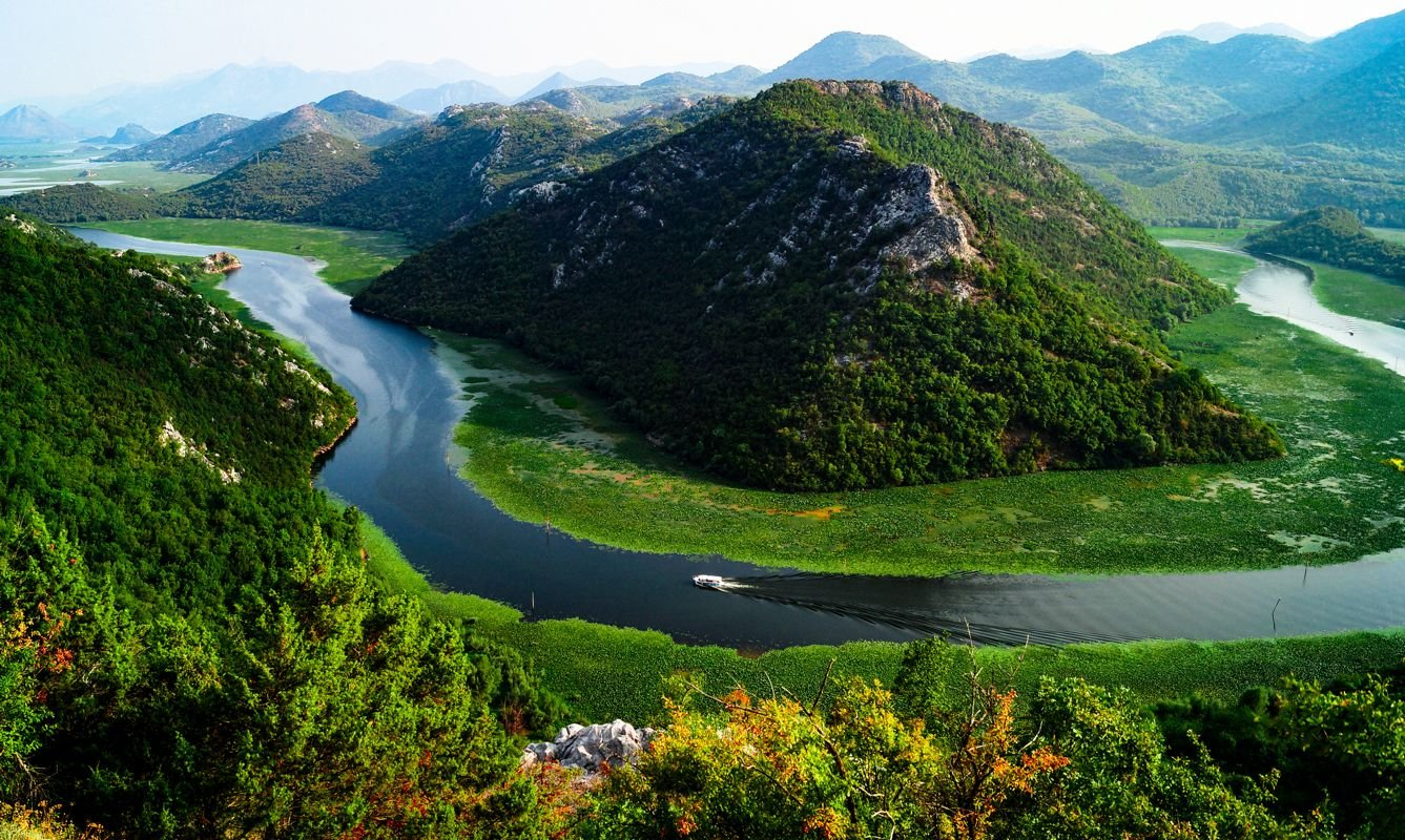 Meandering river at Rijeka Crnojevica at the Skadarsko national park in Montenegro.