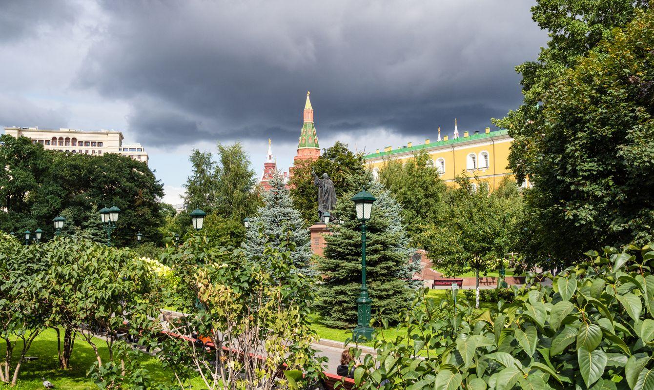 view of green public Alexander Garden near Kremlin
