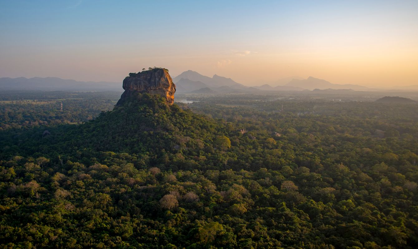 Beautiful evening colors during sunset over Sigiriya, or Lions Rock in Sri Lanka.
