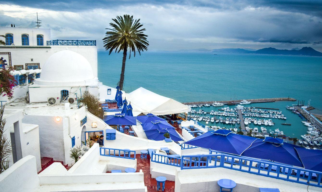 Sidi Bou Said and Harbor: Old Mediterranean Town in Tunisia