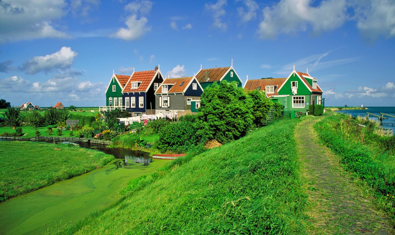 """View on the old village of Rozewerf, Marken, Netherlands"""