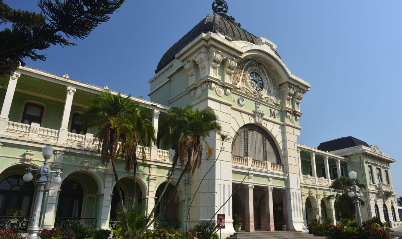 View of CFM (Caminho de Ferro de Mocambique) Railway Station in Maputo, capital of Mozambique. This Victorian style building was designed by Gustave Eiffel. In 1910 he used wrought iron for the roof dome and marble for the outside pillars and arches.