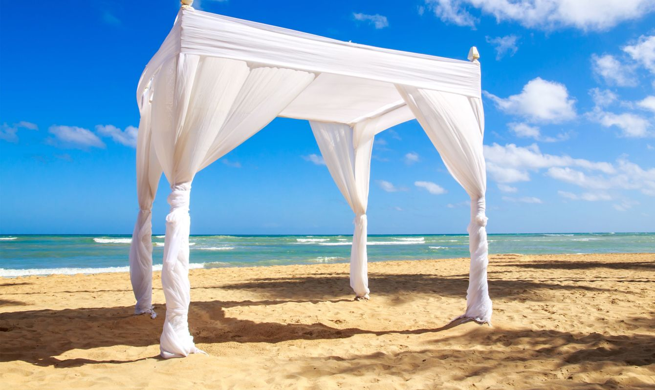 Wedding altar on caribbean beach in Dominican Republic