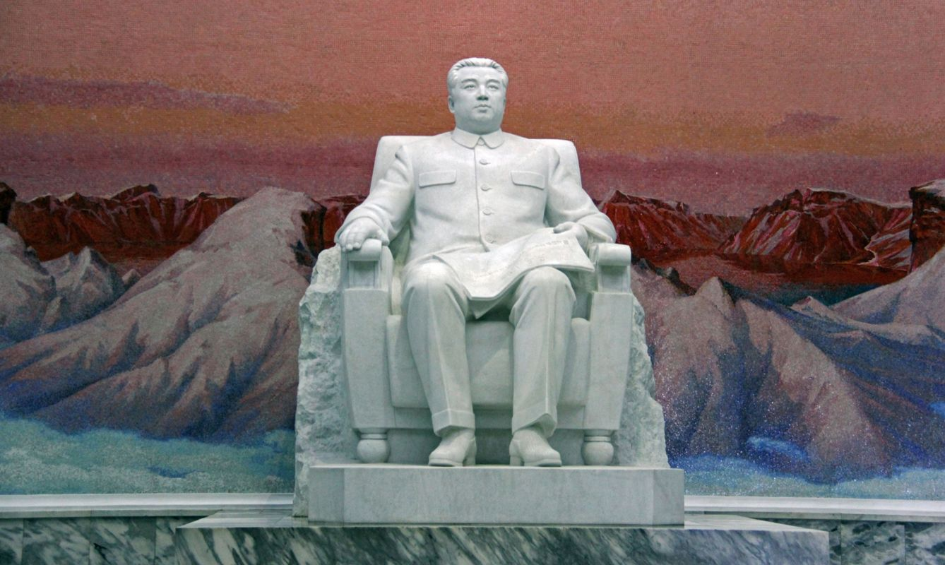 A huge statue of a seated Kim Il Sung dominates the entrance hall of the Grand People's Study Hall.
