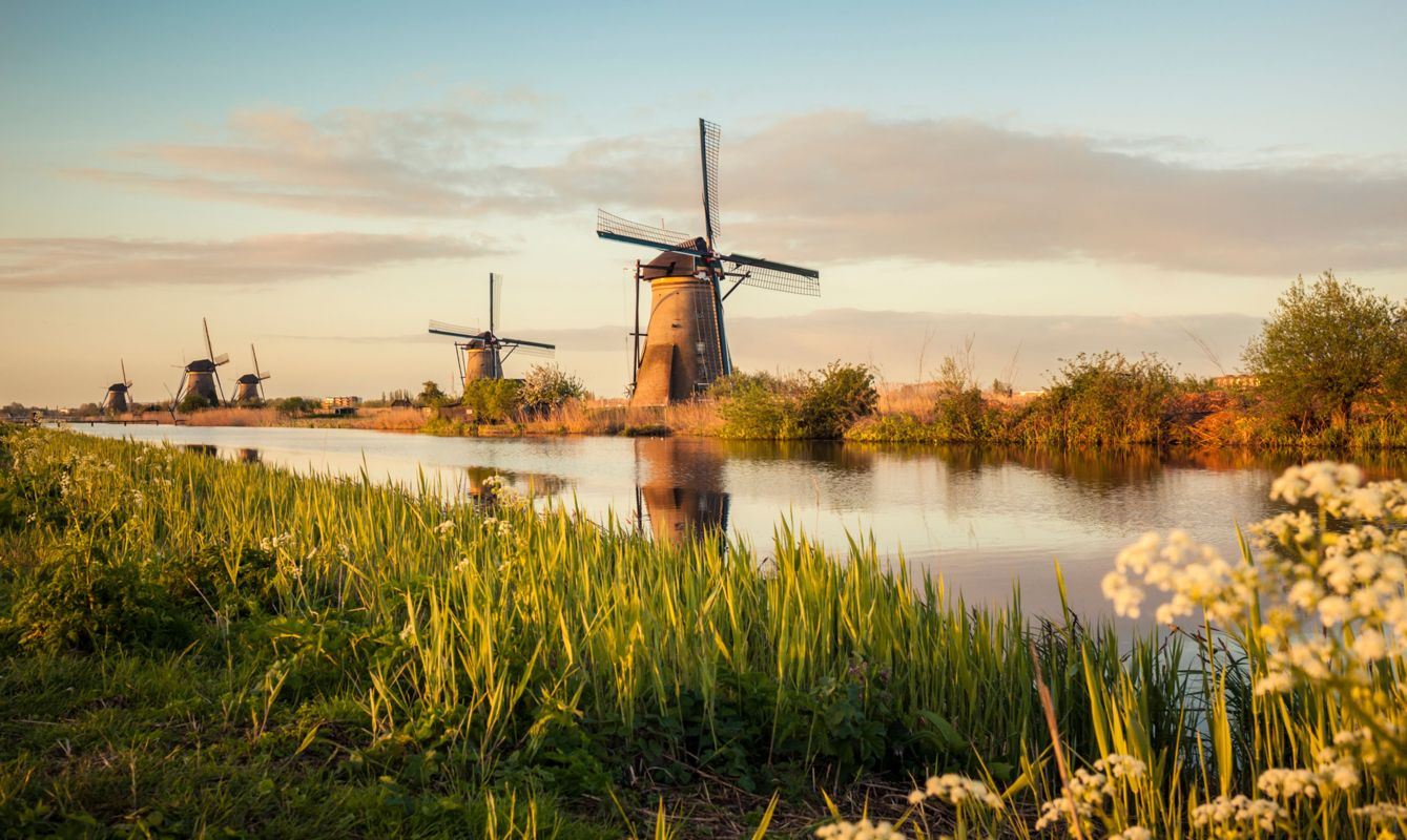 Famous group of windmills in Kinderdijk, Netherlands
