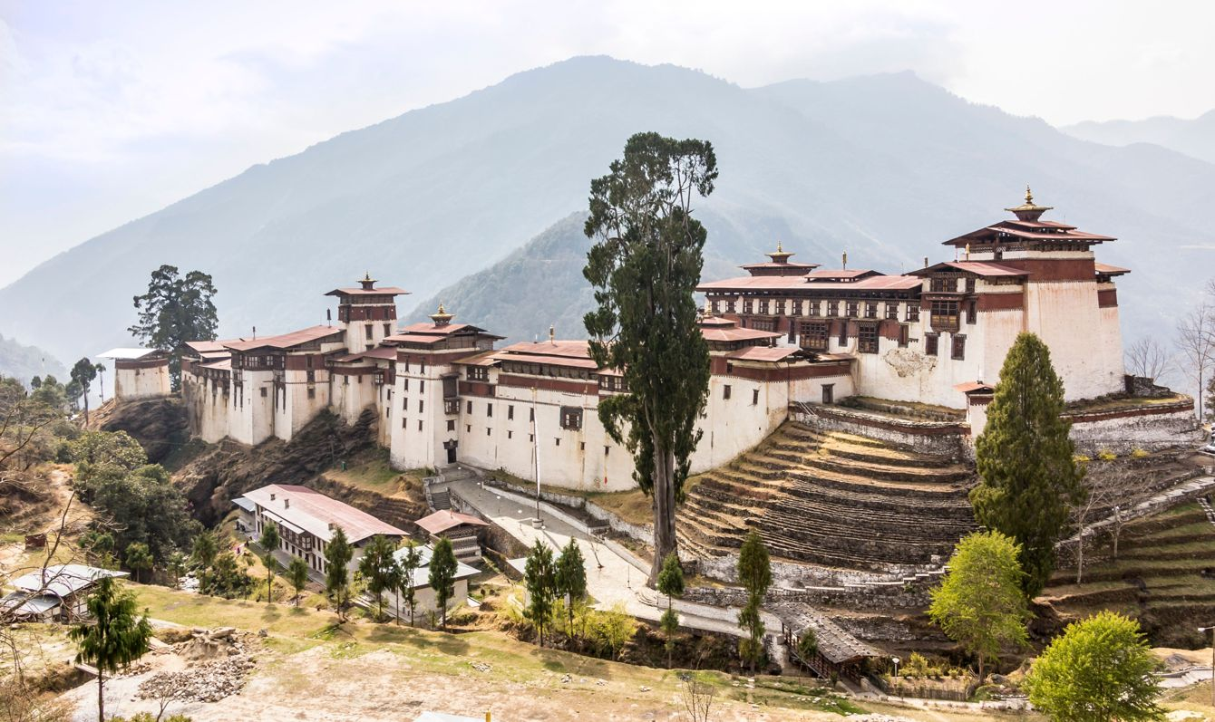 The beautiful dzong of Trongsa, Bhutan. Dzongs are fortress like buildings that house a monastery and administration offices.