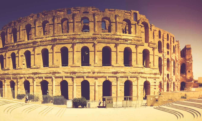 Panoramic view of Coliseum in El Djem.Tunisia in Africa