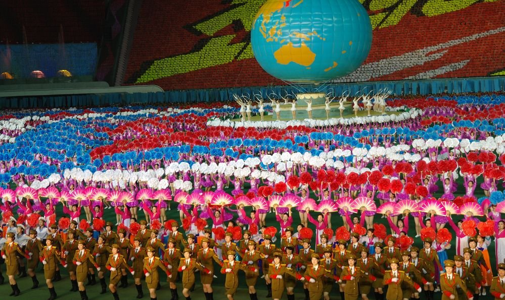 Biggest show in the world - Ariran Festival with the 150,000 people in the Pyongyang capital of North Korea