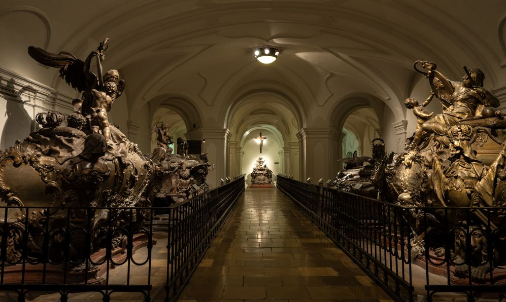 Skull and coffins of Austria Monarch, mostly Habsburg - The Imperial Crypt, Vienna, Austria